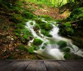 forest waterfall and rocks covered with moss and wood pier