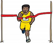 image of long distance  - Long distance runner crossing the finish line ribbon - JPG