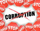 foto of corrupt  - Vector illustration of stop corruption concept background - JPG