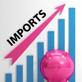 Imports Graph Shows International Trade And Importing Goods