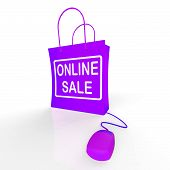 Online Sale Bag Represents Internet Sales And Discounts