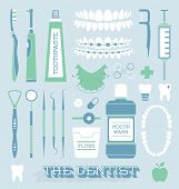 stock photo of rubber band  - Collection of dentist orthodontist and general teeth care icons and silhouettes - JPG