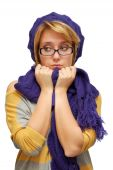 Sad Young Woman In Violet Beret
