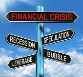 Financial Crisis Signpost Shows Recession Speculation Leverage And Bubble