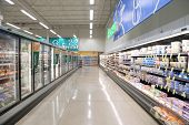 Port Coquitlam BC Canada - July 25, 2013 : Dairy and fozen food corridor in PriceSmart Foods. It is