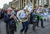 STUTTGART, GERMANY - APRIL 01, 2014: A protest demonstration against the construction of a new railw