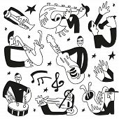 jazz musicians - doodles set