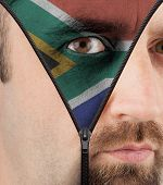 Unzipping Face To Flag Of South Africa