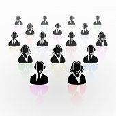 stock photo of homogeneous  - Abstract illustration with real people call center business network - JPG