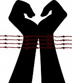 hands in barbwire silhouette vector