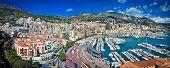Panoramic view of Monte Carlo in Monaco. Azur coast.