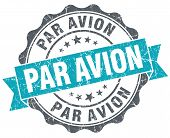 Par Avion Turquoise Grunge Retro Style Isolated Seal
