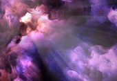 image of surreal  - Surreal vivid dark purple and red storm clouds swirl and billow around a brilliant gap through which light rays stream - JPG