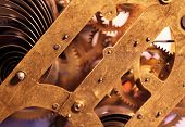 picture of wind up clock  - Close up of an internal clock mechanism