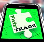 Fair Trade Smartphone Shows Purchasing Ethical Fairtrade Goods