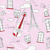 Pink Seamless pattern with music and city
