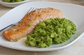 Salmon With Mushy Peas