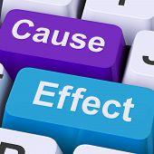foto of reaction  - Cause Effect Keys Meaning Consequence Action Or Reaction - JPG