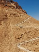 stock photo of masada  - road in fortress Masada Israel. sunny day
