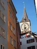 stock photo of zurich  - channel view clock tower of st - JPG