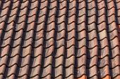 stock photo of red roof tile  - Red roof tile pattern on the house or building