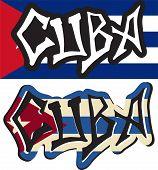 Cuba word graffiti different styles.