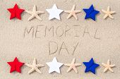 pic of memorial  - Memorial day background on the sandy beach - JPG