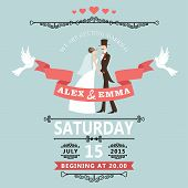 stock photo of pigeon  - The wedding invitation to the groom and bride in retro style with vignettes - JPG