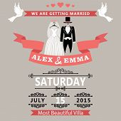 Wedding Invitation With Clothing Groom And Bride.retro