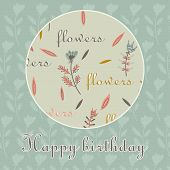Card Happy Birthday Decorative Flowers Circle Background