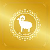 Ram Gold Glitter Background Silhouette Emblem Design