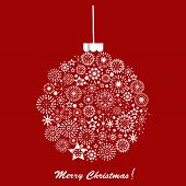 Silver Christmas Ball Over Red Background. Holiday Card
