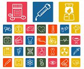Vector white medical icons set on colorful background