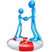 3D Characters Shaking Hands On A Lifebuoy