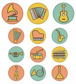 Vector full color musical instruments icons set on colorful background