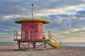 picture of coast guard  - Life guard station on South Beach Miami Florida USA - JPG