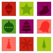 Set Of 9 Isolated Christmas Typical Icons
