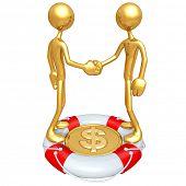 Gold Guys Handshake Lifebuoy Dollar Concept