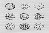 Set Of Different Gear Wheels: Metaphor Of Different Settings For Device Customisation