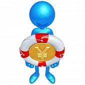 3D Character With Lifebuoy Yen Coin