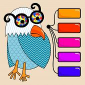 doodle vintage cartoon comic funny bird with colored glasses and