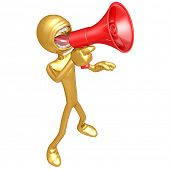 Gold Guy Screaming Into Megaphone