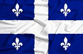 Quebec Flag On A Silk Drape Waving