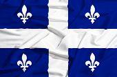 Quebec Flag On A Silk Drape Waving