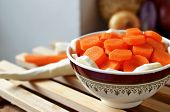 pic of parsnips  - Sliced carrot and parsnip in a bowl - JPG