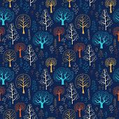Seamless  vector tree pattern with forest illustration
