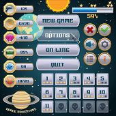 pic of arcade  - Space arcade adventure game menu interface design template vector illustration - JPG