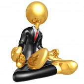 Gold Guy Businessman In Meditation