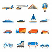 stock photo of helicopter  - Transport icons set with ship truck helicopter  isolated vector illustration - JPG