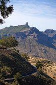 stock photo of parador  - Gran Canaria Caldera de Tejeda Roque Nublo dominates the skyline - JPG